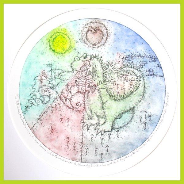 Radierung - Stell dir vor, du bist ein Dinosaurier! - mit Passepartout