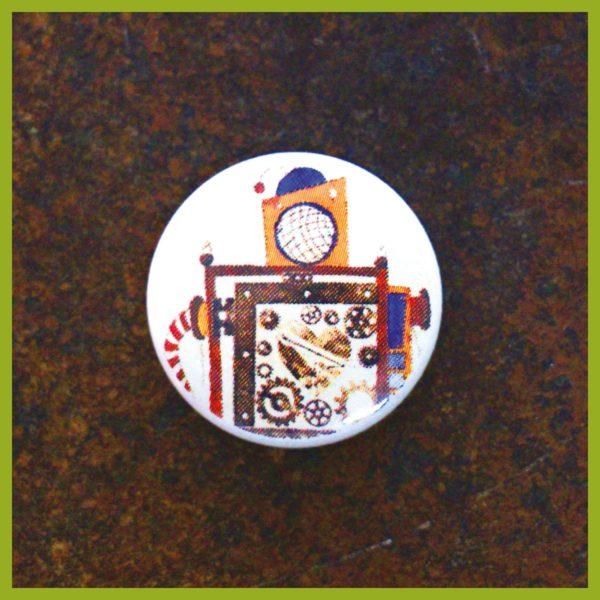 Anstecker / Magnet - Radierung - Maschine - Herzkaputt