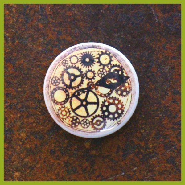 Anstecker / Magnet - Radierung - Maschine - Zeit