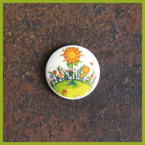 Anstecker / Magnet - Radierung - Weltenviertel - Blumenwiese