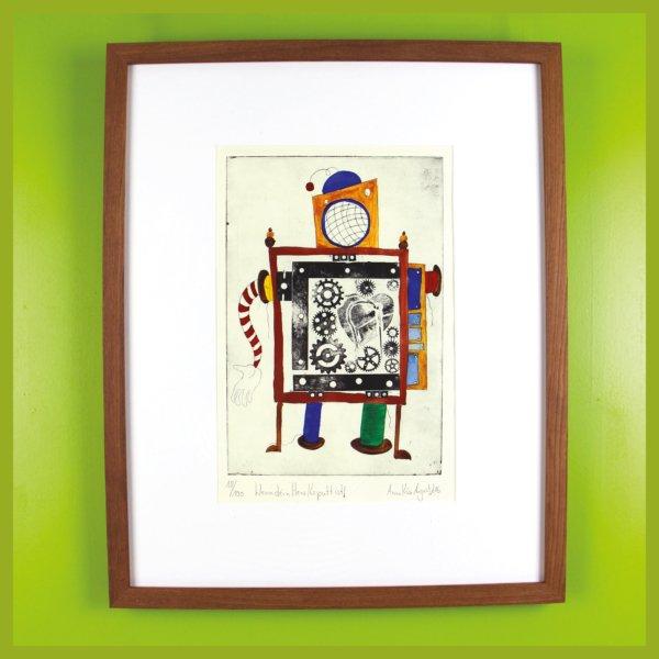 Radierung - Maschine - Wenn dein Herz kaputt ist! - mit Rahmen und Passepartout