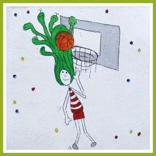 Radierung - Medusa - basketballspielend