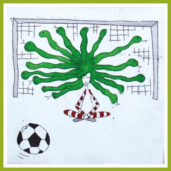 Radierung - Medusa - fußballspielend