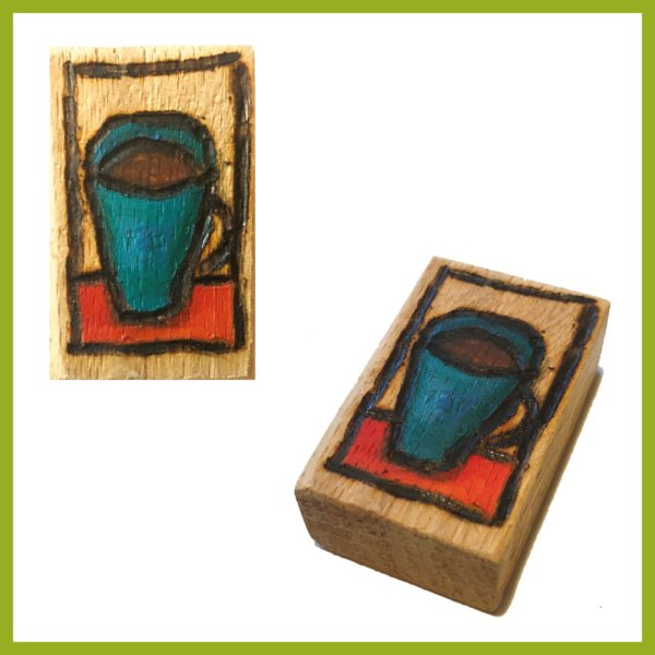Glücksbaustein - Blaue Tasse Kaffe