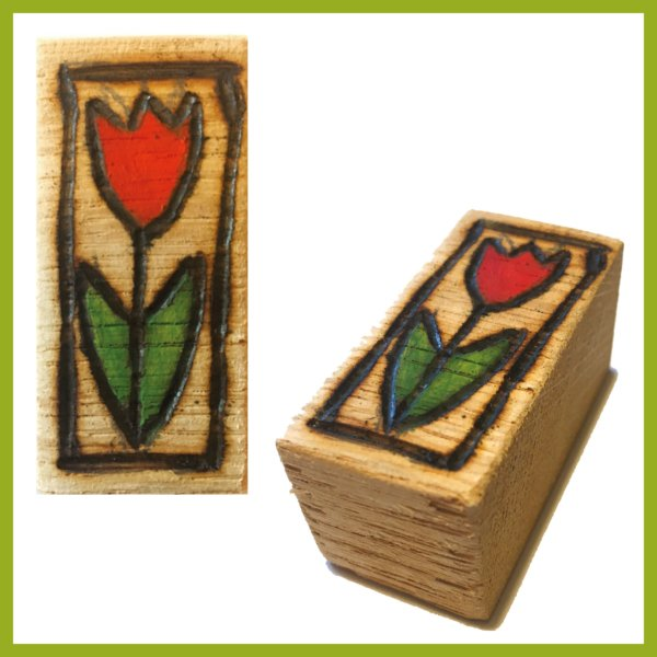 Glücksbaustein - Rote Tulpe
