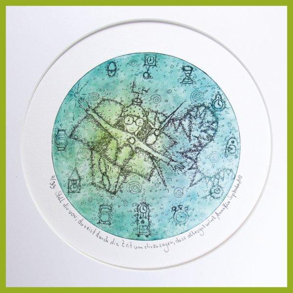 Radierung - Stell dir vor, du reist durch die Zeit - mit Passepartout