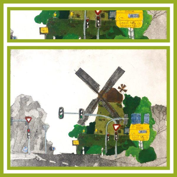 Windmühle im Straßenverkehr.