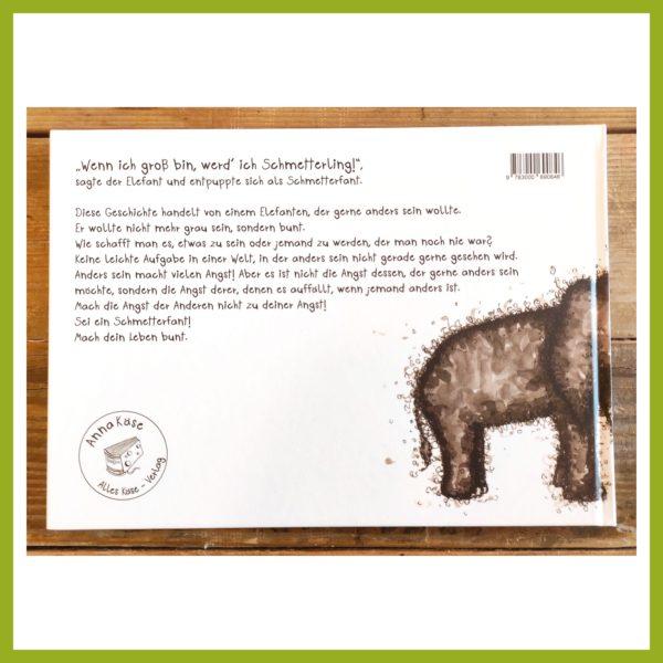 """Rückseite Schmetterfantenbuch """"Wenn ich groß bin werd' ich Schmetterling!"""""""